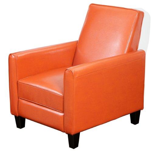 Best Selling Davis Leather Recliner Club Chair, Burnt Orange