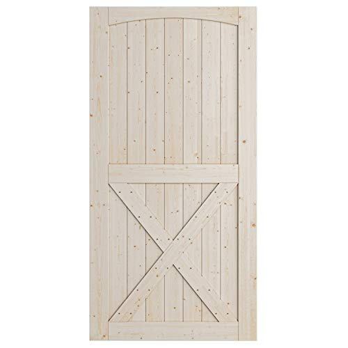 SmartStandard 42in x 84in Sliding Barn Wood Door Pre-Drilled Ready to Assemble, DIY Unfinished Solid Spruce Wood…