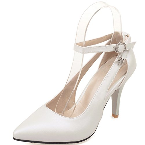 YE Women's High Heel Pointed Toe Ankle Buckle Strap Court Shoes Party Dress Stiletto Pumps Shoes White