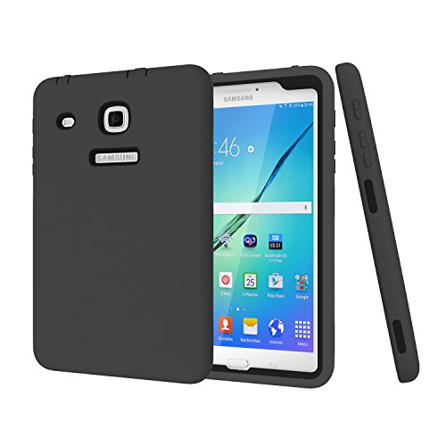 8.0 Case LongSky Hybrid 3in1 High Impact Resistant Defender Cover,Heavy Duty Shockproof Armor Soft Silicone+Hard PC Case for Galaxy Tab E 8.0 inch SM-T377 / SM-T378/T375-Black ()