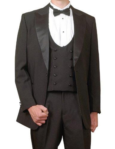 New Men's 5 Piece Black Super 150s Tuxedo with Tails (Includes Vest & Bow Tie) by New Era Factory Outlet