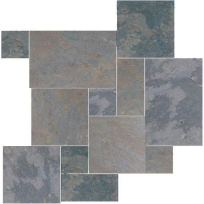 (Natural Stone Collection Indian Multicolor Versailles Pattern Slate Floor and Wall Tile Kit (15.75 sq. ft. / kit))