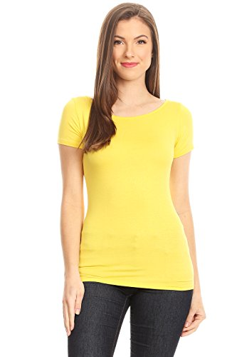 Yellow T Shirt For Women Short Sleeve Crew Neck Solid Color Tee Yellow Small