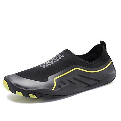 CIOR Männer Frauen Barfuß Quick-Dry Wasser Sport Aqua Schuhe mit 14 Drainage Löcher für Schwimmen, Walking, Yoga, See, Strand, Garten, Park, Fahren J. Schwarz