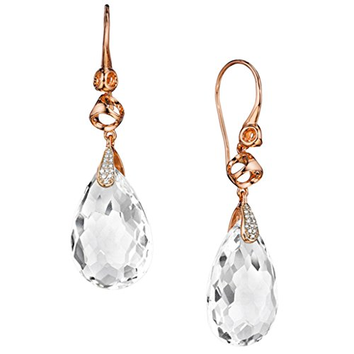 Di Modolo Icona Collection Rock Crystal & Diamond Drop Earrings in Sterling Silver Plated with 18k Rose Gold by Di MODOLO MILANO