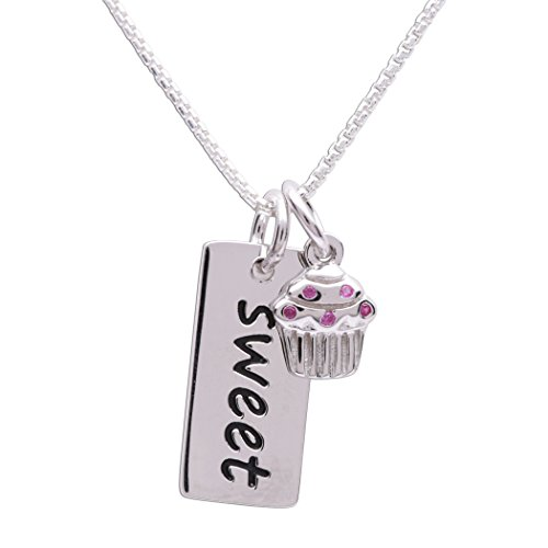 Girls Sterling Silver Sweet Pendant with Cupcake Charm Necklace for Children, (Cupcake Charm Necklace)