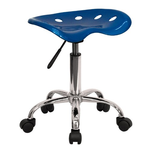 Flash Furniture Vibrant Bright Blue Tractor Seat and Chrome Stool by Flash Furniture