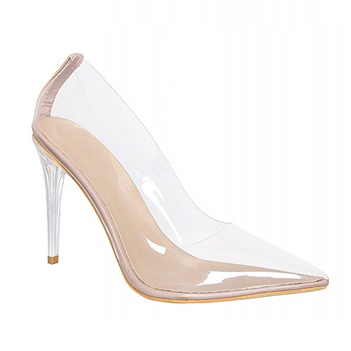 - Crystal Heel Clear Stiletto Court Shoes Nude US11/EU42