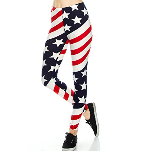TD Collections Women's American US Star Country Flag Legging Blue Red White (One Size, Patriotic)