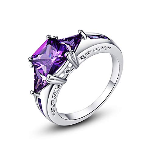 Mavonne 925 Sterling Silver Cushion Cut Created Pink Topaz Filled 3 Stone Engagement Ring (Color : Purple, Size : 7)