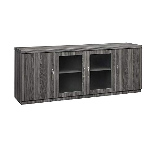 Mayline ALCLGS Aberdeen Low Wall Cabinet with 2 Glass and 2 Wood Doors, Gray Steel Tf ()