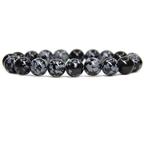 Amandastone Natural Snowflake Obsidian Genuine Semi-Precious Gemstones Healing 10mm Beaded Stretch Bracelet 7