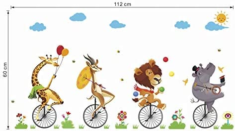 EWQHD De Dibujos Animados Animales De Circo Monociclo Montar A ...
