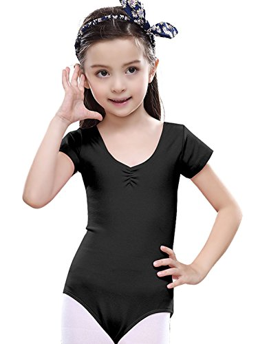 6-7Y Toddler Girl Gymnastics Leotard Shorts Sleeve Ballet Dance Outfit - Black - Simple Rumba Costume
