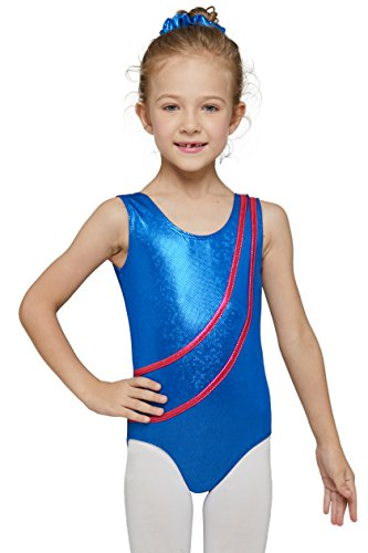 MdnMd Girls' Gymnastics Tank Leotard With Two Streamline Pattern (Tag 120 - Age 4-6 (CXS), Royal Blue) (Sparkly Leotard Gymnastics)