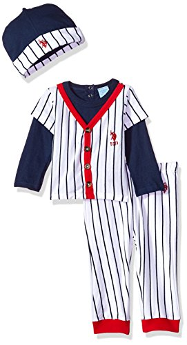 Theme Pants - U.S. Polo Assn. Baby Boys T-Shirt, Accessory and Pant Set, Baseball Theme with Hat Navy, 18M