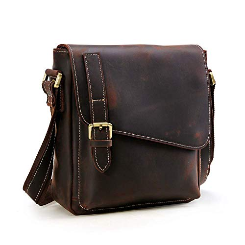 Artishus 13.5 inch Handmade Genuine Leather Satchel Laptop Briefcase Messenger Bag (Dark Brown)