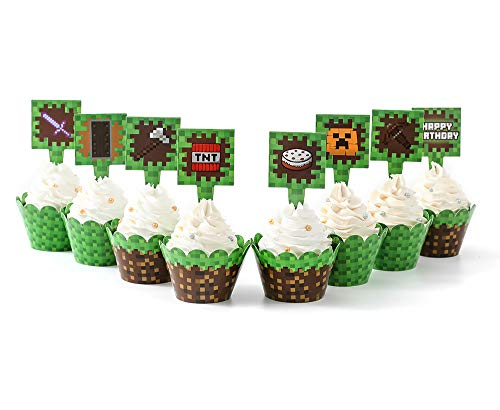 Pixel Cupcake Wrappers and Toppers For Game Party Birthday Party Double Design Printed Party Decoration Party Supplies (24 SET)