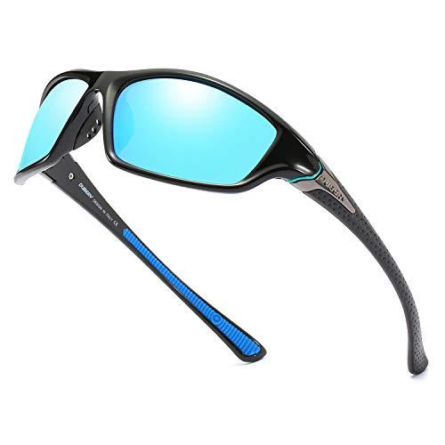 (DUBERY Polarized Fishing Sunglasses for Men Women Ultra Light Outdoor Sports Driving Sunglasses UV400 Protection D120 (Black/Blue) )