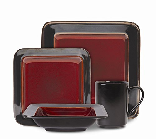 Gibson Couture Bands 16-Piece Dinnerware Set - 16-piece dinnerware set with service for 4 Material: Stoneware Color available is Red - kitchen-tabletop, kitchen-dining-room, dinnerware-sets - 41LnPHIlcUL -