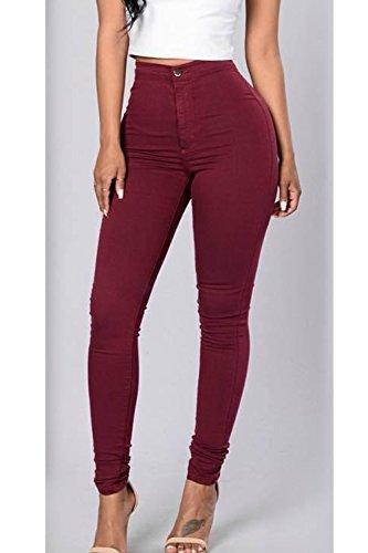 Jeans Haute Denim Pantalon Les Red Solide Femmes Bodycon Legging Taille OBawnA1Wq6