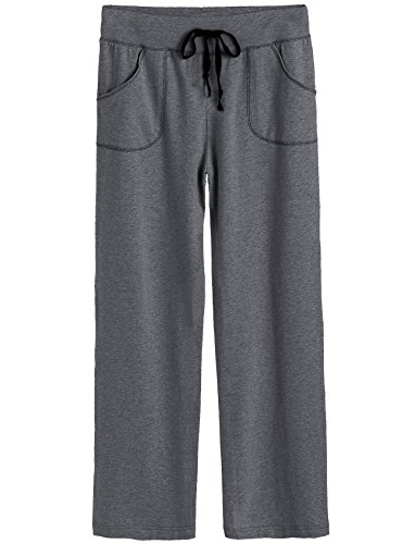 Latuza Women's Cotton Lounge Pants (X-Large, Dark Gray)
