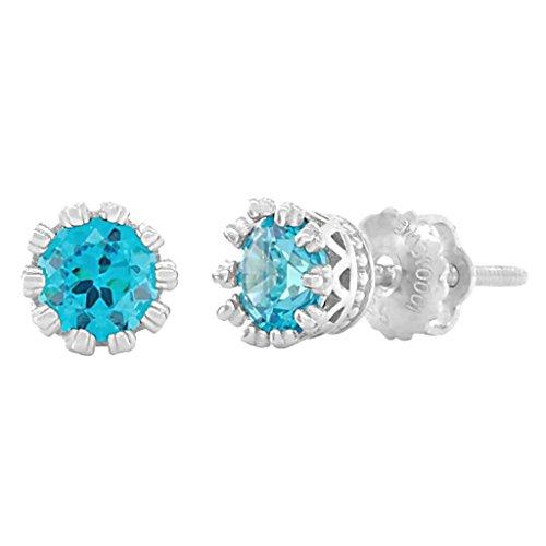 Adria: 5mm, 1.0ct Fancy Crown Set Simulated Swiss Blue Topaz Screw Back Earrings 925 Silver, - Topaz Blue Screw