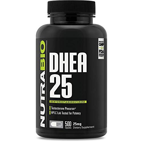 NutraBio DHEA Supplement (25mg, 500 Capsules)