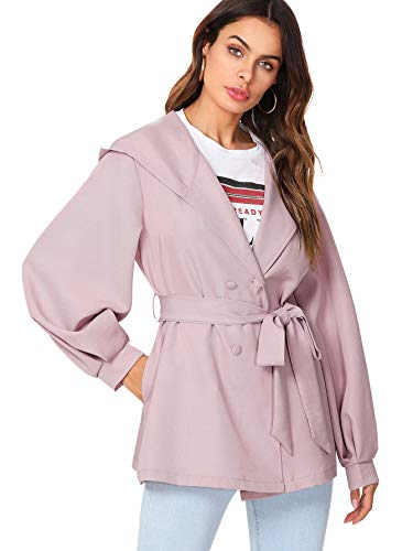Romwe Women's Bishop Sleeve Self Belted Double Breasted Hoodie Coat Pink Small