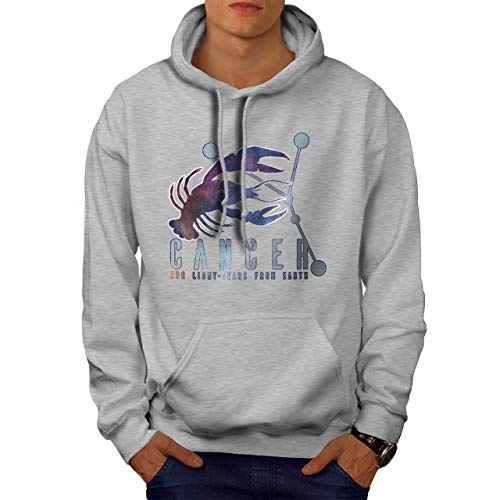 wellcoda Cancer Zodiac Sign Mens Hoodie, Horoscope Hooded Sweatshirt Grey 5XL