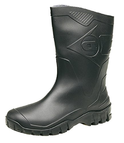 DUNLOP Short Leg Half-Height Wellies Easier On & Off Good For Wider Calf Fitting. Sizes 4-12UK Black