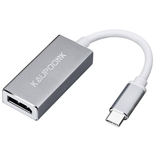 KAUPOONK USB C to DisplayPort 4K 60Hz Adapter,USB 3.1 TYPE C to DisplayPort Adapter male to female for Monitor Apple Macbook pro Chrome Samsung Galaxy S8 S9,USB-C Thunderbolt 3 to DisplayPort GREY by KAUPOONK