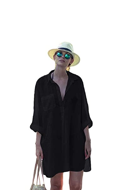 f39c66af6a NFASHIONSO Women's Sexy Deep V Neck Swimsuit Cover Up/Beachwear Dress,Black- Shirt