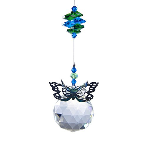 H&D 40 mm Handmade Butterfly Crystal Ball Prism Rainbow Maker Hanging Suncatcher Home Wedding Decoration - Suncatcher Butterfly