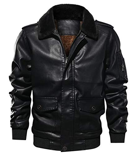 (Itemnew Men Sportswear Full Zip Sherpa Lined Air-Force Faux Leather Bomber Jacket (Small, Black))