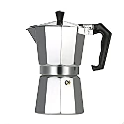 yorten Espresso Maker Espresso Percolator Coffee Stovetop Maker Mocha Pot for Use on Cooker Gas Stove Electrothermal Furnace Aluminum 3-Cup 6-Cup 9-Cup 12-Cup Optional