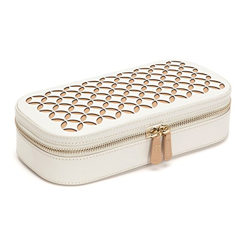WOLF 301253 Chloe Zip Jewelry Case, Cream
