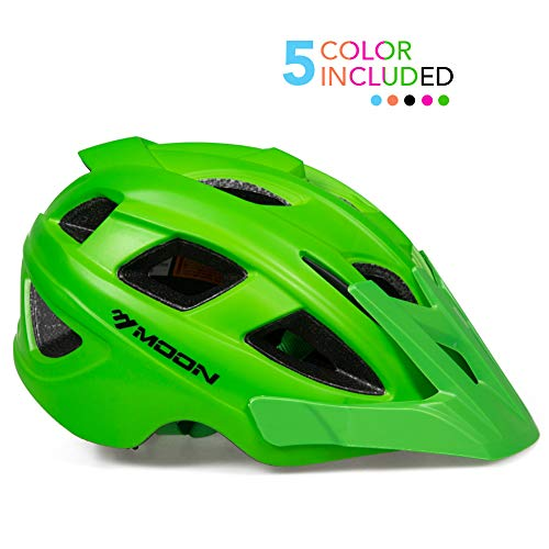 MOON Kids Bike Helmet,Knucklehead Unisex Youth Mountain Road Bicycle Helmet for Girls and Boys with Detachable Visor (Green, S)