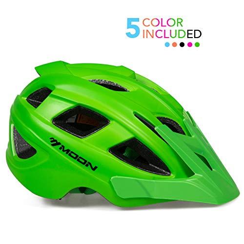 MOON Kids Bike Helmet,Knucklehead Unisex Youth Mountain Road Bicycle Helmet for Girls and Boys with Detachable Visor