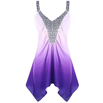 Womens Plus Size Tops amd Blouses,Vanvler Ladies Ombre Print Tie-Dye Gradient Shirt