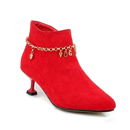 Red US6.5-7   EU37   UK4.5-5   CN37 Red US6.5-7   EU37   UK4.5-5   CN37 Women's shoes Suede Fall & Winter Comfort Boots Flared Heel Black Red