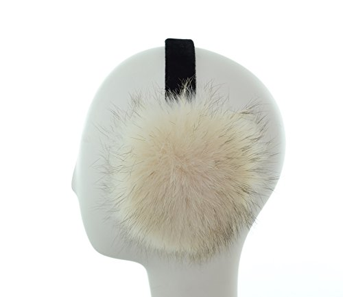 Coyote Fur Earmuffs on Velvet Band (Moon Beam) by Surell Accessories
