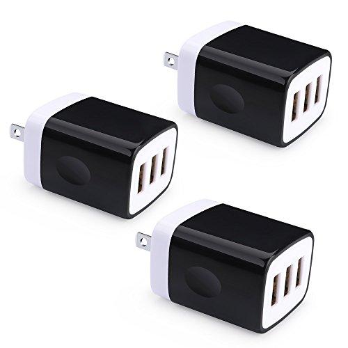USB Wall Charger, Tepoo 5V 3.1A 3PC 3-Port USB Wall Plug Cube Compatible with iPhone X/8/7 Plus, iPad, Samsung S9 S8, LG V35 THINQ Q7 G7 THINQ, HTC U11 U12+, BlackBerry, Huawei, Moto, Nokia and More by TePoo
