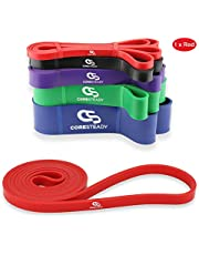 Coresteady Resistance Band - Assisted Pull Up Band - Exercise Workout Bands for CrossFit – Powerlifting – Yoga – Stretch Mobility for Men and Women (RED/LIGHTEST)