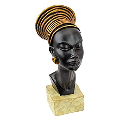 "Design Toscano Nubian Kandake Sculptural Bust - Dimensions: 5.5""Wx7.5""Dx13""H 3 lbs. Hand-cast using real crushed stone bonded with high quality designer resin Each piece is individually hand-painted by our artisans - living-room-decor, living-room, home-decor - 41LnRcmewHL. SS400  -"