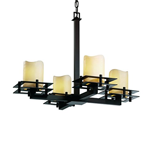 (Justice Design Group CandleAria 4-Light Chandelier - Dark Bronze Finish with Cream Faux Candle Resin Shade)