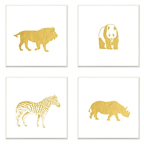 Stupell Home Décor Golden Animal Silhouettes Lion Panda Zebra Rhino 3pc Wall Plaque Art Set, 12 x 0.5 x 12, Proudly Made in USA (Pottery Silhouette)