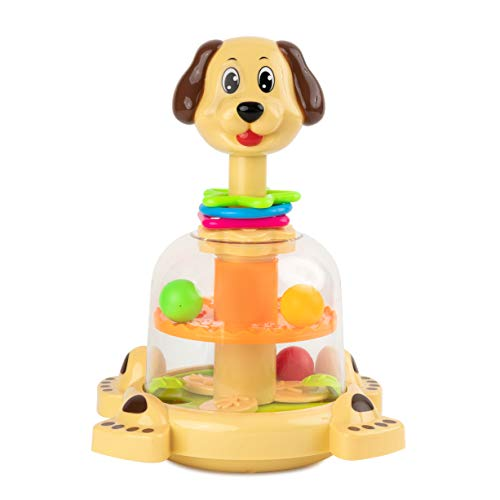 Toy To Enjoy Push & Spin Dog Toy - Easy Press Button Ideal for Fine Motor Skill Development and Learning Activity - Great for Infants Toddlers 12 Months and - Motor Infants Fine