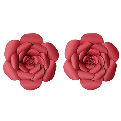 LG-Free 2pcs 12inch Paper Flower Backdrop Decoration Party Paper Flower Wedding Rose Flower Wall Backdrop DIY Paper Handmade Craft for Nursey,Baby Shower,Birthday,Home Decor (12inch, Burgundy)