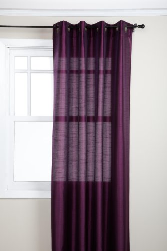 Eggplant Curtains (Stylemaster Tribeca 56 by 84-Inch Faux Silk Grommet Panel, Amethyst)